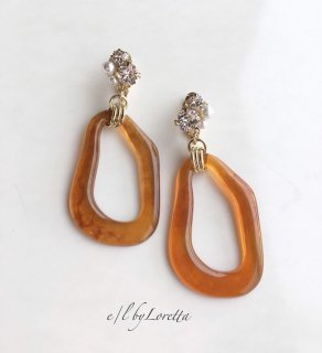 Bekkou oval hoop bijou pierce/earring(Brown)