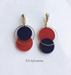 Asymmetry color pallet pierce/earring(Red×Navy)