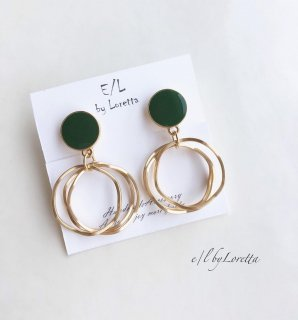 Mini color circle triple hoop pierce/earring(Green)