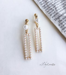Pearl square pierce/earring