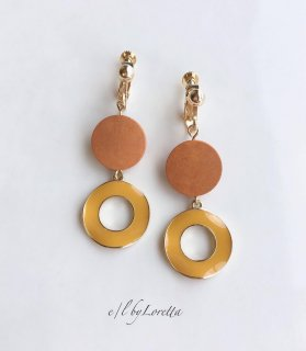 Color wood × hoop pierce/earring(Orange)