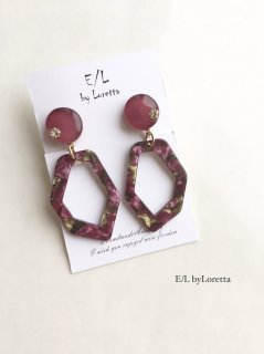 Marble KAKERA hoop pierce/earring(Dark Pink)