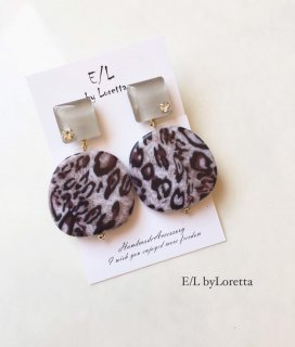 Color circle leopard pierce/earring(Beige)