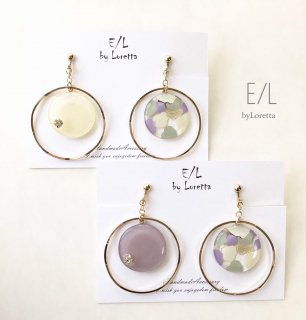 (全2色)Asymmetry marble hoop pierce/earring