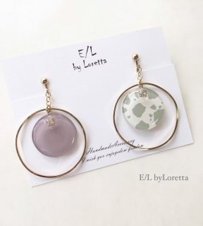 Asymmetry white animal big hoop pierce/earring(Lavender)