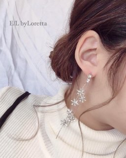 Crystal flower chain pierce/earring(Silver)