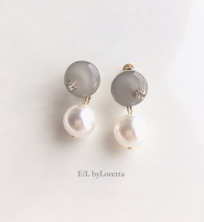 Mini circle color pearl pierce/earring(Beige)