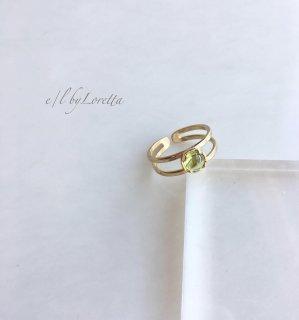 【1/26(sun)21:00〜Order Start.】ペリドット 真鍮 w line Ring