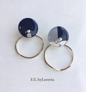 【1/27(mon)21:00〜Order Start.】 2way 3color hoop pierce/earring(Navy)