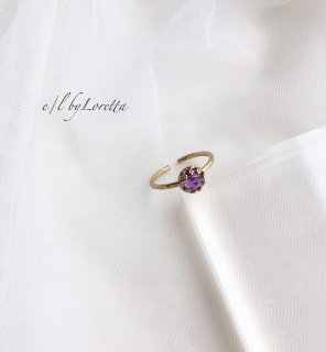 アメジスト 真鍮 design Ring