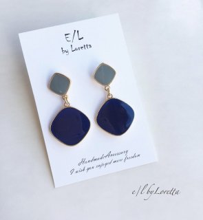 Bi-color pierce/earring(Blue)