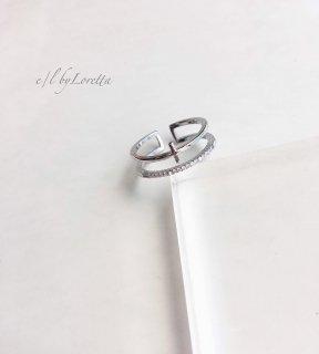 Crystal × cross Ring(Silver)