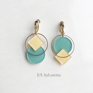 Square × circle color pallet pierce/earring(Yellow×Mint)