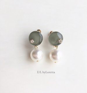 Mini circle color pearl pierce/earring(Khaki)