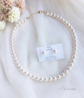 Crystal pearl Necklace & pierce/earring SET (SWAROVSKI)