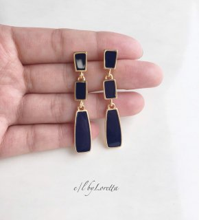 3連 color plate pierce(Navy)