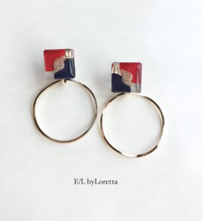 3color square hoop pierce/earring(Red×Navy)