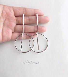 Metal stick hoop pierce(Silver)