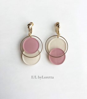 Asymmetry color pallet pierce/earring(Ivory×Pink)