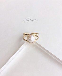 淡水パール 真鍮 w line Ring