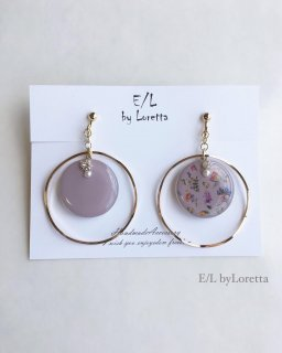 Botanical big hoop pierce/earring(Lavender)