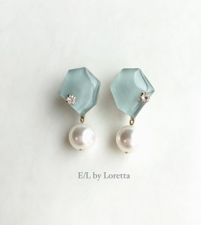 【4/2(thu)21:00〜Order Start.】 KAKERA pearl pierce/earring(Mint)