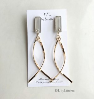 Color w stick pierce/earring(Beige)