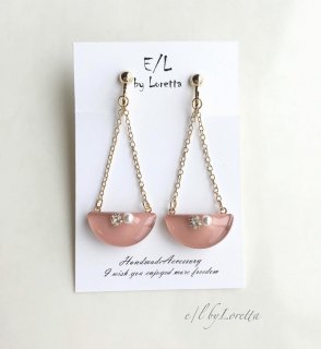 Chain half circle bijou pierce/earring(Peach pink)