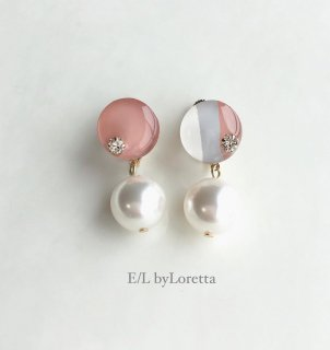 Mix color mini circle pearl pierce/earring(Peach Pink)