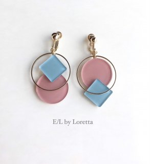 Square × circle color pallet pierce/earring(Light Blue×Pink)