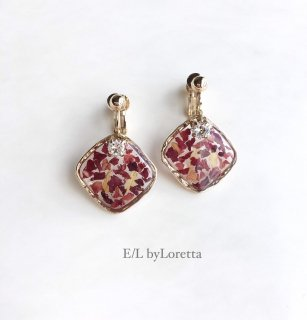 Flower square pierce/earring(Red)