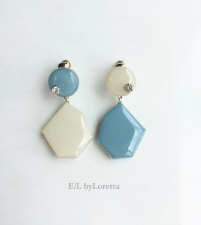 Color Asymmetry KAKERA pierce/earring(Light Blue×Ivory)