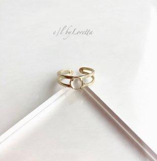 ムーンストーン 真鍮 w line Ring