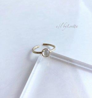 ムーンストーン 真鍮 hammered Ring