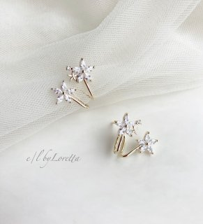 【9/24(thu)21:00〜Order Start.】Crystal flower ear cuff pierce
