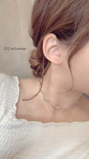 【7/8(wed)21:00〜Order Start.】Wave choker Necklace (Silver)