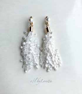Lace tassel pearl pierce/earring(White)