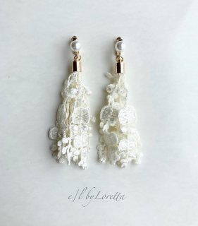 Lace tassel pearl pierce/earring(Ivory)