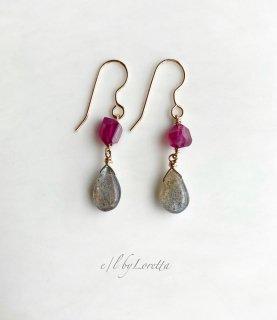 ルビー × ラブラドライト pierce/earring