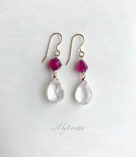 ルビー × ローズクオーツ pierce/earring