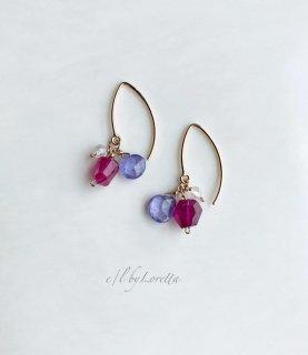 ルビー × タンザナイト × クリスタル pierce/earring