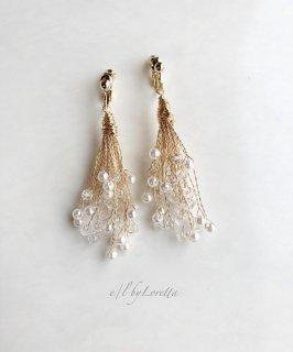 Pearl × crystal tassel pierce/earring