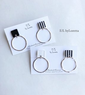 (全2色)2way Asymmetry stripe square hoop pierce/earring