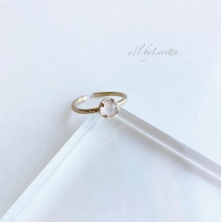 ローズクオーツ 真鍮 hammered Ring