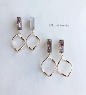 (全2色)Shell stick oval hoop pierce/earring