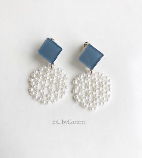Color square × circle pierce/earring(Grayish blue)