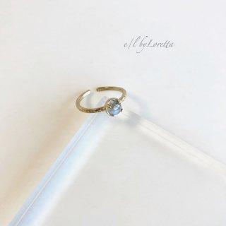 ラブラドライト 真鍮 hammered Ring