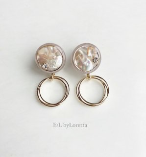 Mini circle shell triple hoop pierce/earring(Smoky Pink)