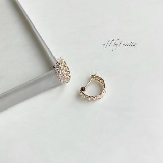 K10 CZ hoop pierce(Yellow Gold)