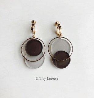Asymmetry color pallet pierce/earring(Brown×Beige)